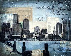 Harborwalk No. 6 - paper print of Boston skyline mixed media collage
