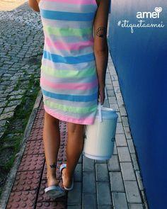 Saindo (da rotina) 👣💗☀️ #lojaamei #vestido #praia #listra #florescente #verãoamei #rua