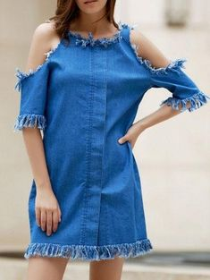 #Valentines #AdoreWe #Zaful - #Zaful Round Neck Short Sleeve Cut Out Frayed Denim Dress - AdoreWe.com
