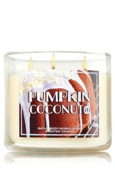 Pumpkin Coconut Candle - Enjoy a fall treat with a touch of the tropics: toasted coconut, spiced pumpkin puree & vanilla Bath Candles, Home Candles, 3 Wick Candles, Scented Candles, Candle Jars, Bath N Body Works, Bath And Body, Best Smelling Candles, Best Home Fragrance
