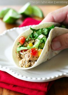 Cilantro Lime Chicken Tacos from @Christy Polek Polek Denney {The Girl Who Ate Everything}