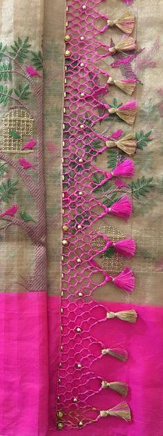 Saree Kuchu New Designs, Saree Tassels Designs, Wedding Saree Blouse Designs, Silk Saree Blouse Designs, Silk Sarees, Silk Thread Bangles Design, Simple Blouse Designs, Embroidery Saree, Elegant Saree