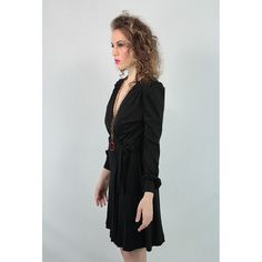 Young Innocent black jersey wrap dress. 70's does 40's little black day dress.