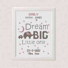 elephants Birth announcement cross stitch pattern Dream big