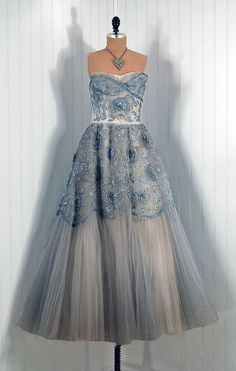 1950s Vintage Ceil Chapman Couture Strapless Steel-Blue Beaded Sequin and Rhinestone Tulle Circle-Skirt Princess Wedding Party Gown Dress