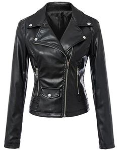 Tanming Women's Faux Leather Collar Moto Biker Short Coat Jacket (2XL, Black)