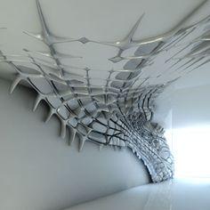 Sculptural wall installation...Project of Zaha Hadid for interior design