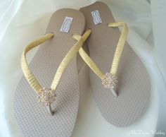4bc39dcab2fbea Items similar to Gold Flip Flops. Tan flip flops with golden ribbon. CZ  crystal button on a 18kg plated base .Other colors available-Simple BELLA- Golden on ...