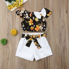 Jarsh Baby Girls Clothes Set Solid Off Shoulder Tops+Floral Printed Flared Pants Outfit Costume