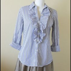 Lauren Ralph Lauren blue striped button up Can roll up sleeves or wear them down. Looks great for work or styles with jeans/ white jeans Ralph Lauren Tops Button Down Shirts