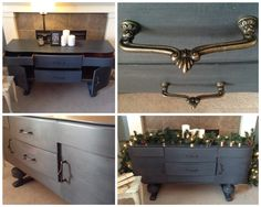 Mid century buffet in a custom steel blue. Available at Lee.Marie Antiqued Furniture on Facebook