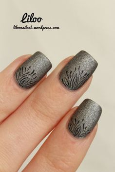 Liloo Black Freehand design on matte grey nails