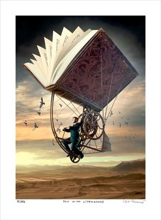 ( 25 Stunning Surreal Illustrations and Creative Photo Manipulation by Igor Morski ) man flying riding an vintage old fashion flying book machine Fantasy Kunst, Fantasy Art, Illustrations, Illustration Art, Steampunk Kunst, Steampunk Book, Steampunk Bicycle, Steampunk Artwork, Kunst Online