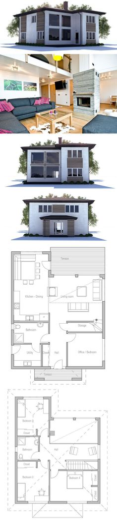 Small House Plan with high ceiling and large windows, three bedrooms, two living areas.