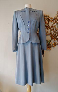 40s Suit / Vintage 1940s Slate Blue Womens Wool Gabardine Suit by Swansdown New York Size S. $175.00, via Etsy.
