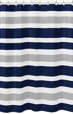 Modern White, Navy And Gray Stripe Bathroom Fabric Bath Shower Curtain