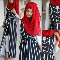How to style strip abaya you can learn here. Dual color strip abaya pair with matching plain Hijab.