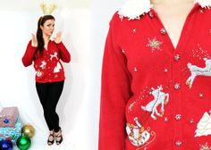 UGLY CHRISTMAS SWEATER Red Reindeer Cardigan by LoveologyVintage, $20.00