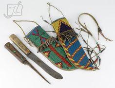 Found on EstateSales.NET: Native American Blackfoot Plains Beaded Knife Pair