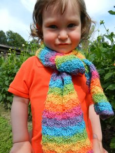 Rainbow Childrens Kids Knitted Scarf / Hand knitted by MioLauma