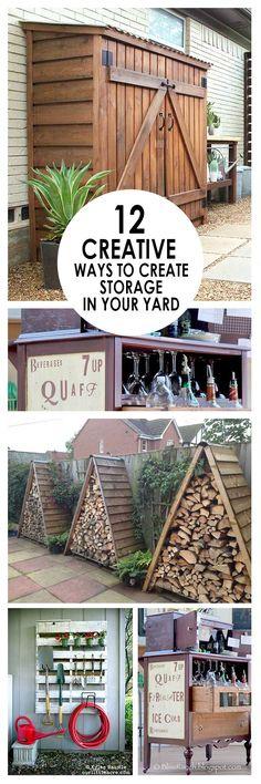 Yard storage, DIY yard storage, outdoor living, easy storage, DIY yard organization, landscaping ideas, popular pin, yard and landscaping storage ideas.