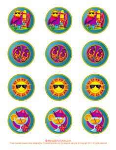 summer cupcake topper template
