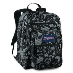 JanSport Big Student Backpack (New Storm Grey/Black Lacis) I love this pattern. thinking about a new backpack for field trips Cute Backpacks, Girl Backpacks, School Backpacks, Cute School Bags, Cute School Supplies, Jansport Backpack, Backpack Bags, Fashion Backpack, Galaxy Backpack