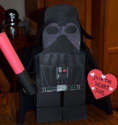 Super cute and funny valentine - LEGO Star Wars Darth Vader Valentine Box Valentine Day Boxes, Valentines For Boys, Valentines Day Hearts, Valentine Day Crafts, Holiday Crafts, Holiday Fun, Funny Valentine, Happy Hearts Day, Heart Day