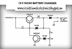 Please visit Electronic Circuit: 12 Volt Nicad Battery charger for more detail information. Electronic Shop, Electronic Recycling, Electronic Circuit, Electronics Gadgets, Electronics Projects, Battery Charger Circuit, Battery Shop, Voltage Regulator, Circuit Projects