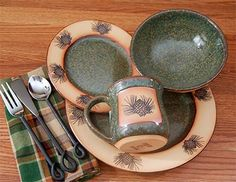 Click to buy Pine Cone Dinnerware: Rustic Pinecone Dinnerware Set from The Cabin Place!