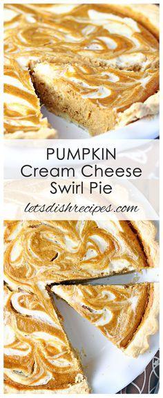 Pumpkin Cream Cheese Swirl Pie Recipe    Pumpkin pie and cheesecake come together in this beautiful swirled holiday dessert.