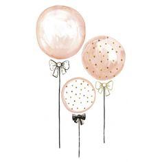 XL Wandtattoo \'Luftballons\' puderrosa/gold/schwarz 85cm