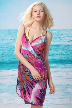 Flaming Fireworks Front Beach Cover-up Roseo|LC40457-2|