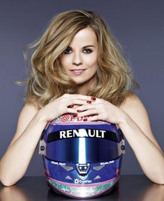 Taking helmet hair to a whole new level, Williams Test Driver Suzi Wolf.