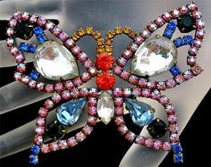 Butterfly Rhinestone Vintage Brooch Figural Large AB Pink Blue Orange Estate Pin | eBay