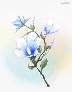 무궁화 Blue 버전으로 그려봤습니다. 세상에는 없는 꽃이다 보니 뭔가  유리 장식같네요 ㅎㅎ Tatting, Plants, Bobbin Lace, Needle Tatting, Plant, Planets