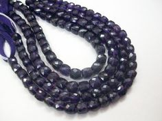 "Natural Faceted 10 mm SAPHIR BLEU perles rondes pierres précieuses Collier 20/""AAA"