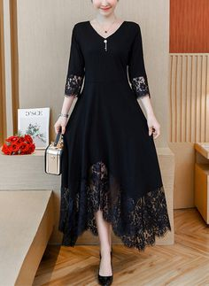 Casual Loose Plus Size Sexy Lace Splicing Maxi Dresses – Allinlike Elegant Midi Dresses, Nice Dresses, Casual Dresses, Fashion Dresses, Maxi Dresses, Lace Sleeves, Fashion 2020, Dress Brands, Silk Dress