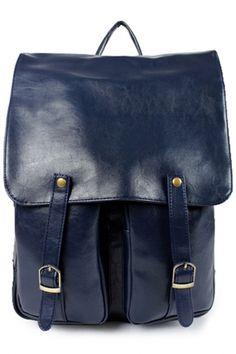 Vintage Fashion Solid PU Backpack - OASAP.com