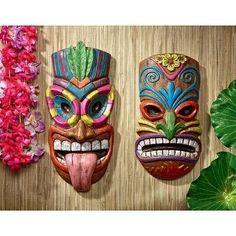 2 Piece Gods of the Hawaiian Isle Tiki Wall Décor Set Wall Decor Set, Art Decor, Polynesian Art, Tiki Totem, Tiki Art, Hawaiian Tiki, Hawaiian Tattoo, Symbolic Tattoos, Stone Painting