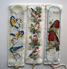 Textile Heritage cross stitch bookmarks. Birds. L-R: Bluetits,goldfinches,robins.