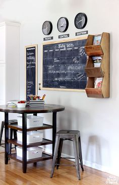 Really like the idea of using those shelves next to the chalkboard in the boys' room