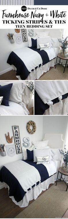 Your dream farmhouse teen bedding is waiting! This navy and white ticking stripe sham and bed scarf feature our exclusive (and brand new! Navy and white - and everything right! We adore this farmhouse teen bedroom. Preppy Dorm Room, Boho Dorm Room, Dorm Room Headboards, Dorm Room Bedding, Pink Dorm Rooms, College Dorm Rooms, College Tips, Dorm Room Food, Dorm Bed Skirts