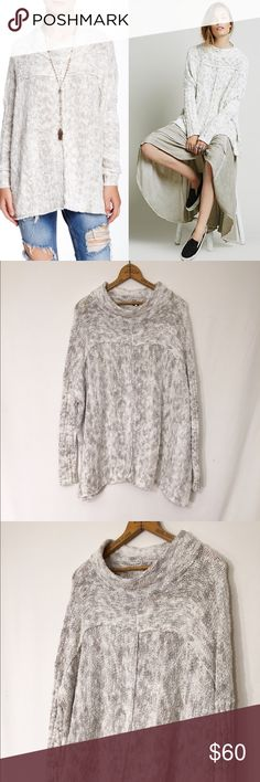 FREE PEOPLE nightingale oversize mockneck sweater FREE PEOPLE nightingale oversize mock neck boucle sweater Medium  Minimal all over wear and fuzzing is present. Otherwise, excellent condition! Cotton, nylon. Oversized and slouchy, and will fit larger sizes.   Bust 60 Length 24  This slouchy Free People mock neck sweater is detailed with exposed seams. Ribbed long sleeves. Dropped shoulder seams. Fabric: Bouclé knit. Free People Sweaters Cowl & Turtlenecks