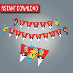 Pokemon Birthday Banner-Instant download- Printable- Digital Files- Pikachu