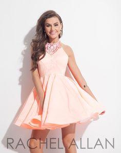 Rachel Allan 4041 Soft Coral Homecoming Dress