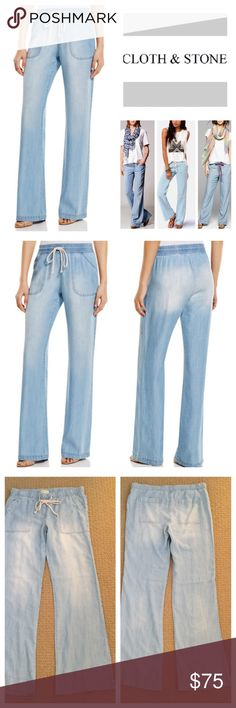 """🆕Anthropologie Cloth & Stone Wide  Leg Pants.NWOT 🆕 Anthropologie Cloth & Stone Chambray Wide Leg Pants, 100% tencel, machine washable, 34"""" elastic drawstring waist which stretches up to 37"""", 9"""" front rise, 13.5"""" back rise, 34"""" inseam, 20"""" leg opening all around, two front pockets, two back patch pockets, fading, measurements are approx.  New without tag, never worn.  Truest color is second pic frame.  NO TRADES Anthropologie Pants Wide Leg"""