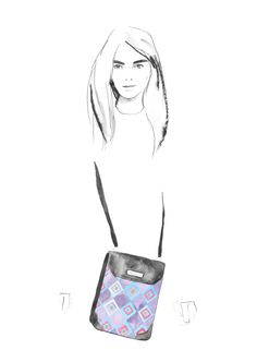 Ilustración bolsa mensajera Rombos jacquard #artwork #doodle #pinedacovalin #fashion #boceto