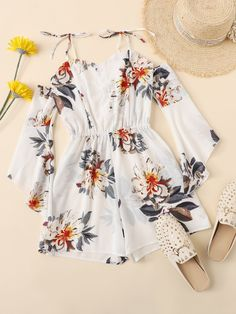 Shop Floral Print Cami Romper at ROMWE, discover more fashion styles online. Cute Girl Outfits, Cute Summer Outfits, Girly Outfits, Cute Casual Outfits, Pretty Outfits, Pretty Dresses, Stylish Outfits, Dress Outfits, Spring Outfits