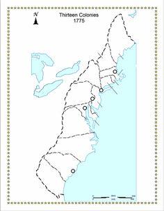 A map of the 13 original colonies  alex gallo  Pinterest